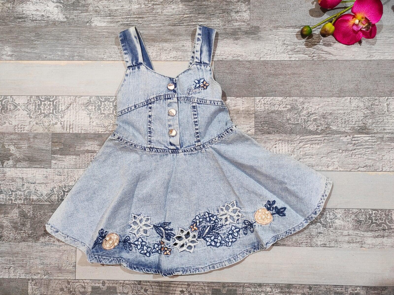 Jean φόρεμα FLOWERS 2-3-4 ετών